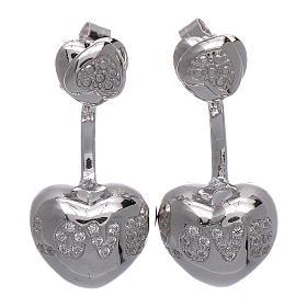 Orecchini pendenti AMEN doppio cuore argento 925 zirconi bianchi s1