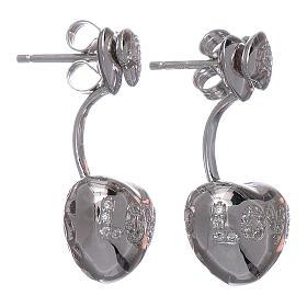 Orecchini pendenti AMEN doppio cuore argento 925 zirconi bianchi s2