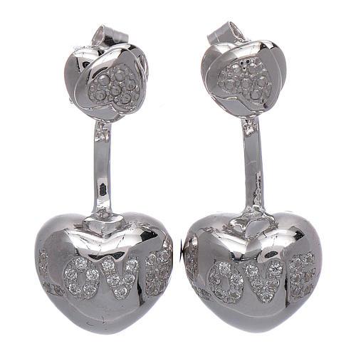Orecchini pendenti AMEN doppio cuore argento 925 zirconi bianchi 1
