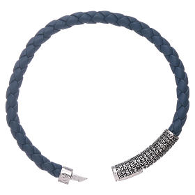 AMEN blue leather bracelet and bronze Our Father insert s3