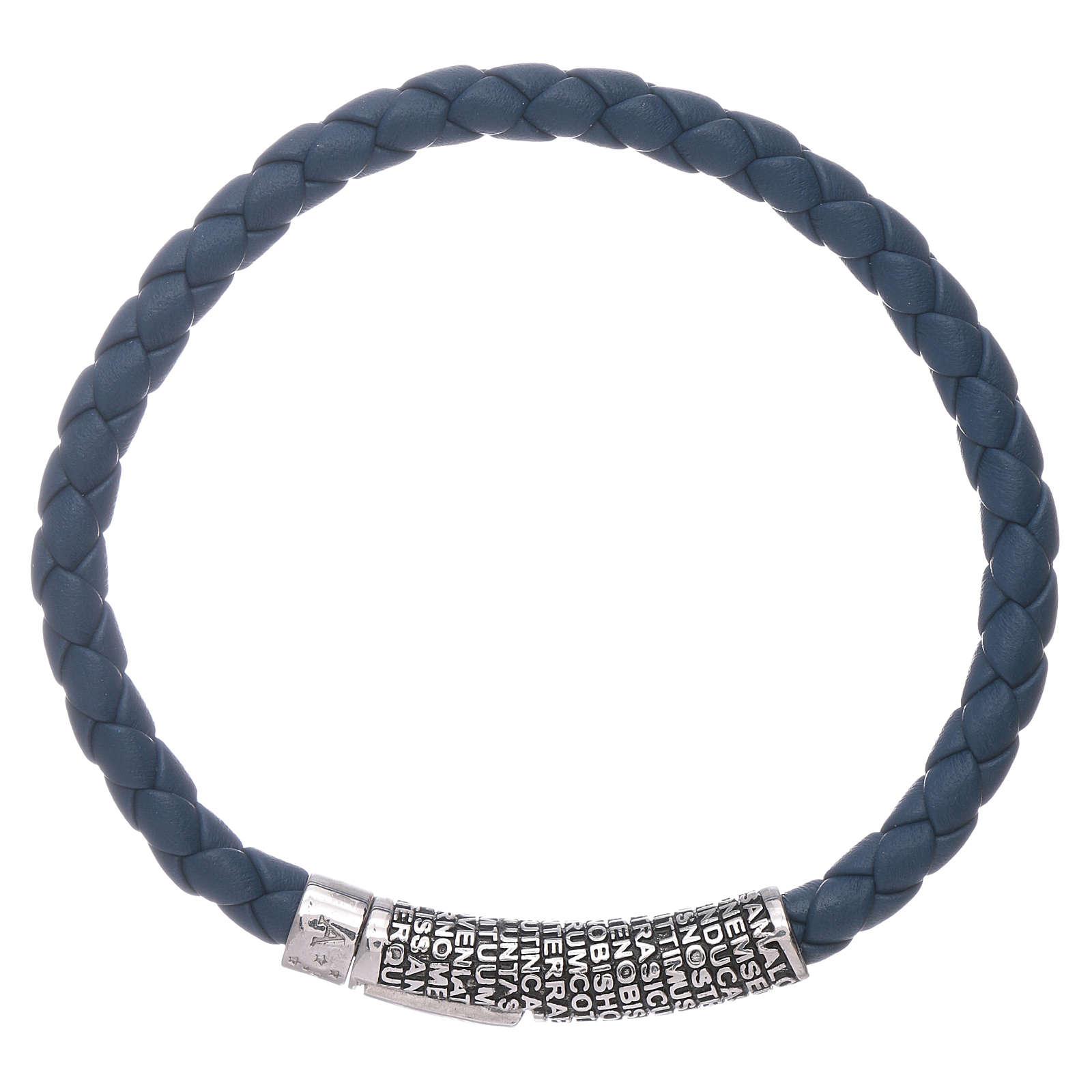 Bracelet AMEN en cuir bleu tressé et Pater Noster en bronze 4