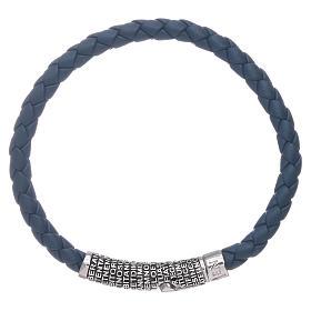 Bracelet AMEN en cuir bleu tressé et Pater Noster en bronze s1