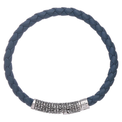 Bracelet AMEN en cuir bleu tressé et Pater Noster en bronze 1