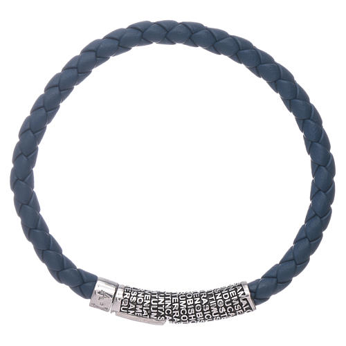 Bracelet AMEN en cuir bleu tressé et Pater Noster en bronze 2