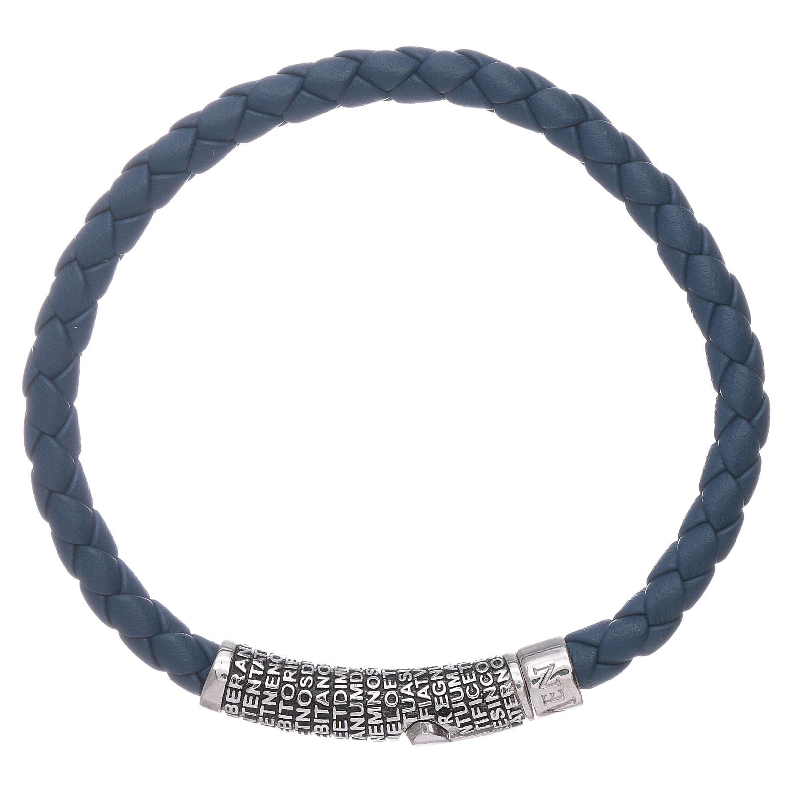 Bracciale AMEN in pelle blu intrecciata Pater Noster in bronzo 4