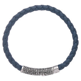 AMEN blue leather bracelet and bronze Our Father insert s1