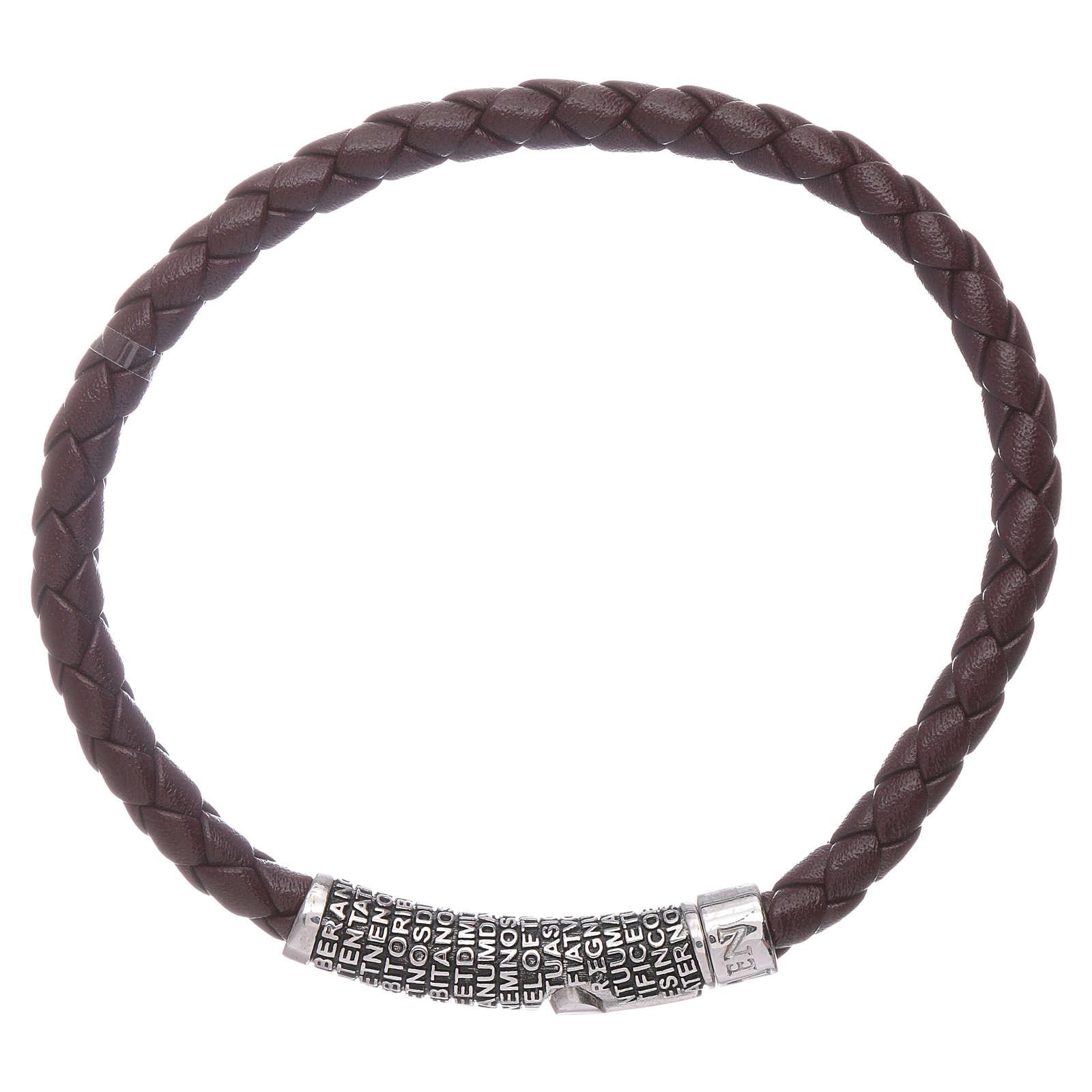 Bracelet AMEN en cuir brun foncé et Pater Noster en bronze 4