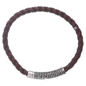 Bracelet AMEN en cuir brun foncé et Pater Noster en bronze s1