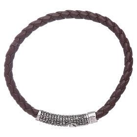 Bracelet AMEN en cuir brun foncé et Pater Noster en bronze s2