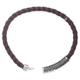 Bracelet AMEN en cuir brun foncé et Pater Noster en bronze s3