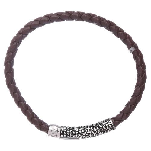 Bracelet AMEN en cuir brun foncé et Pater Noster en bronze 1