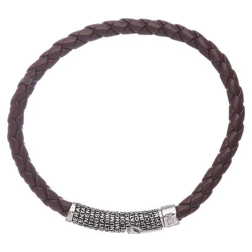Bracelet AMEN en cuir brun foncé et Pater Noster en bronze 2