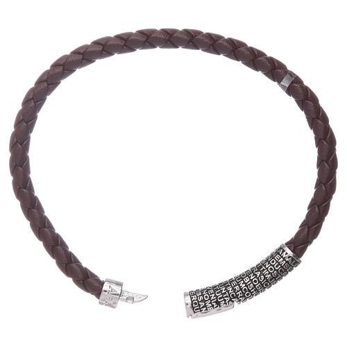 Bracelet AMEN en cuir brun foncé et Pater Noster en bronze 3