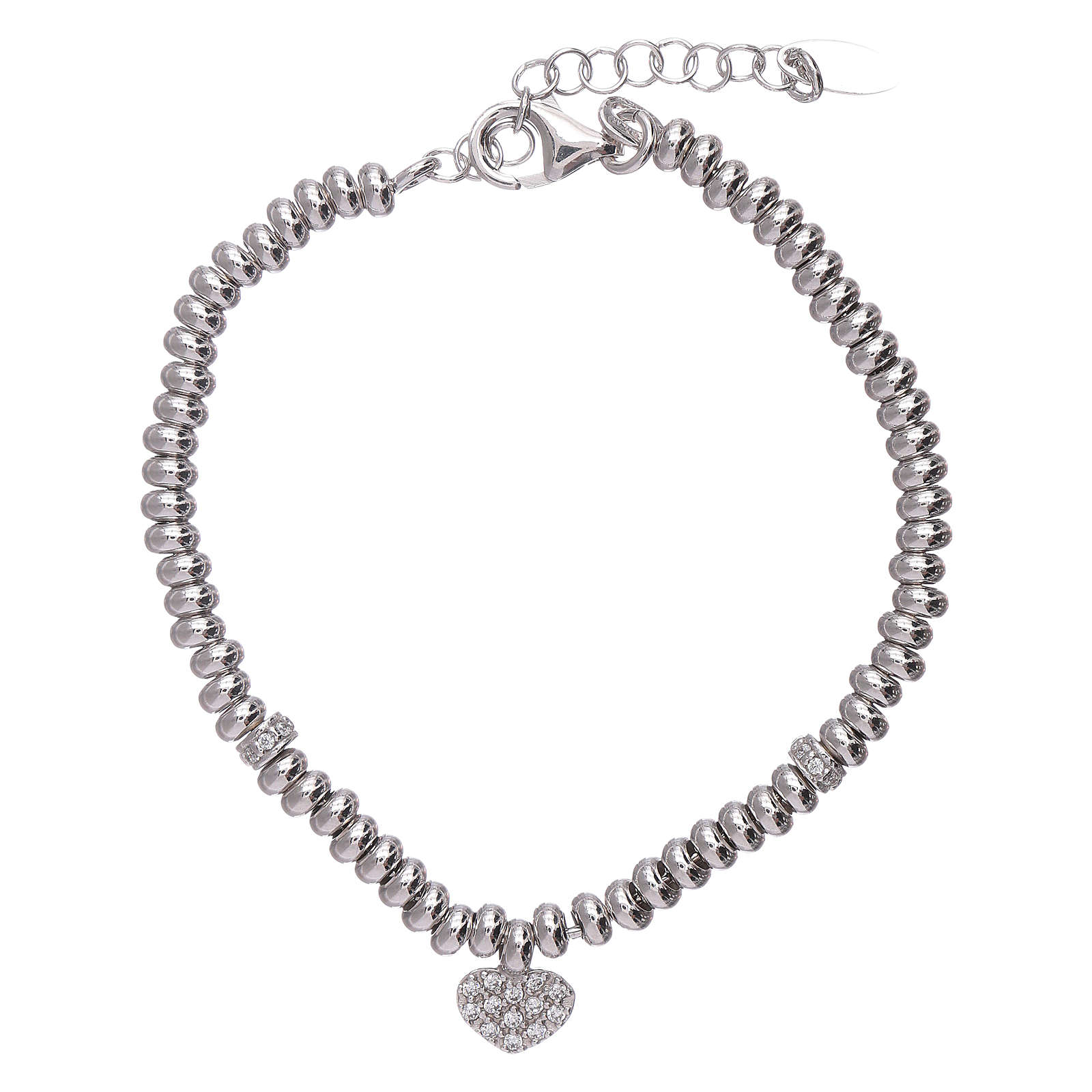 AMEN 925 sterling silver bracelet finished in rhodium and zirconate heart 4
