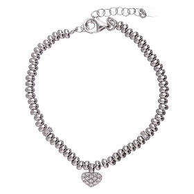 AMEN 925 sterling silver bracelet finished in rhodium and zirconate heart s1