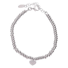 AMEN 925 sterling silver bracelet finished in rhodium and zirconate heart s2