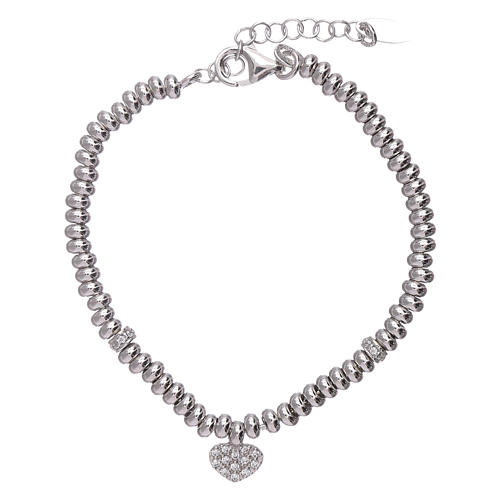 AMEN 925 sterling silver bracelet finished in rhodium and zirconate heart 1