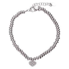 AMEN bracelets: AMEN 925 sterling silver bracelet finished in rhodium and zirconate heart