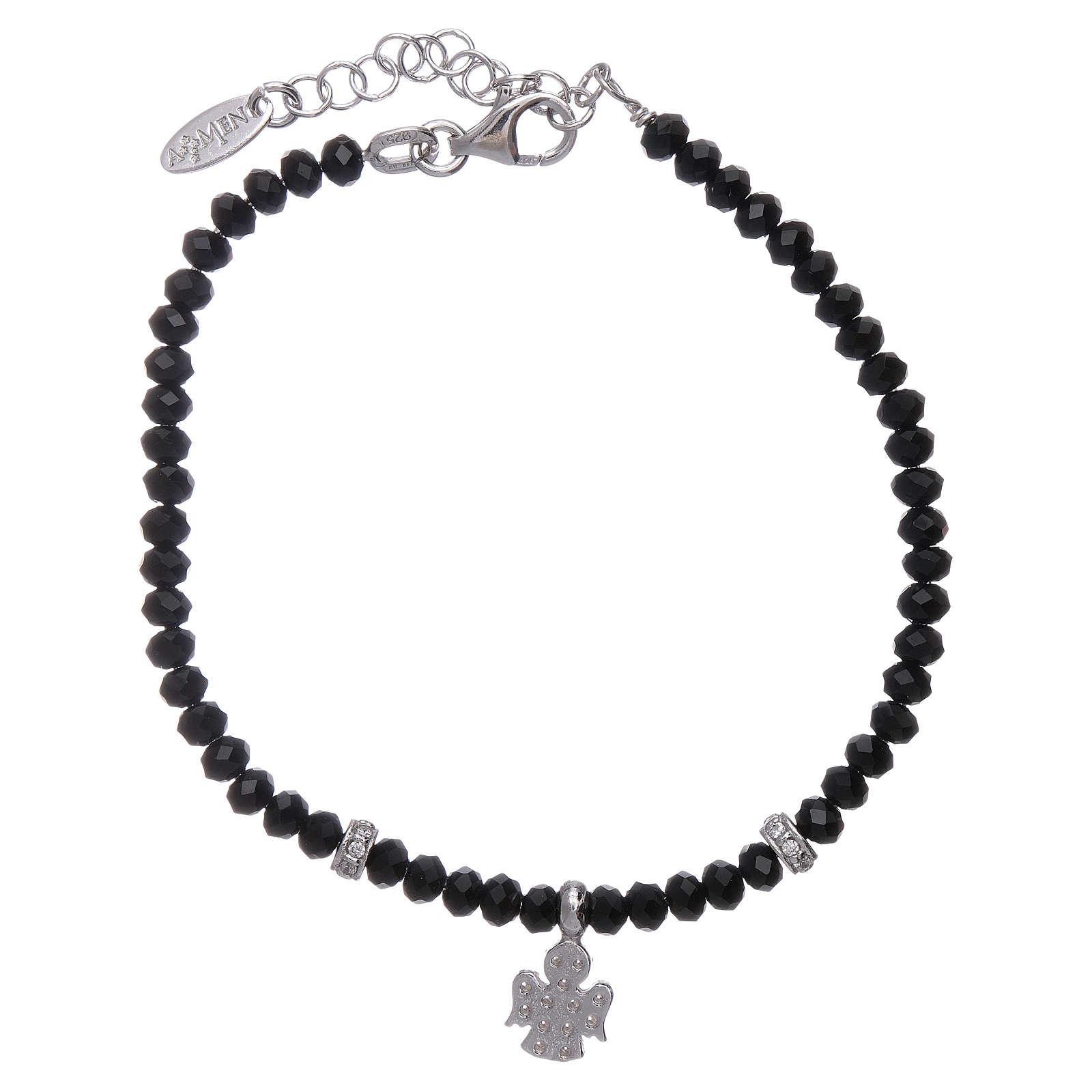 Bracciale Amen argento 925 cristalli neri e angioletto di zirconi 4