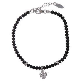 Bracciale Amen argento 925 cristalli neri e angioletto di zirconi s1