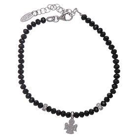 Bracciale Amen argento 925 cristalli neri e angioletto di zirconi s2