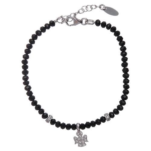 Bracciale Amen argento 925 cristalli neri e angioletto di zirconi 1