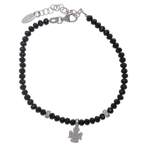 Bracciale Amen argento 925 cristalli neri e angioletto di zirconi 2