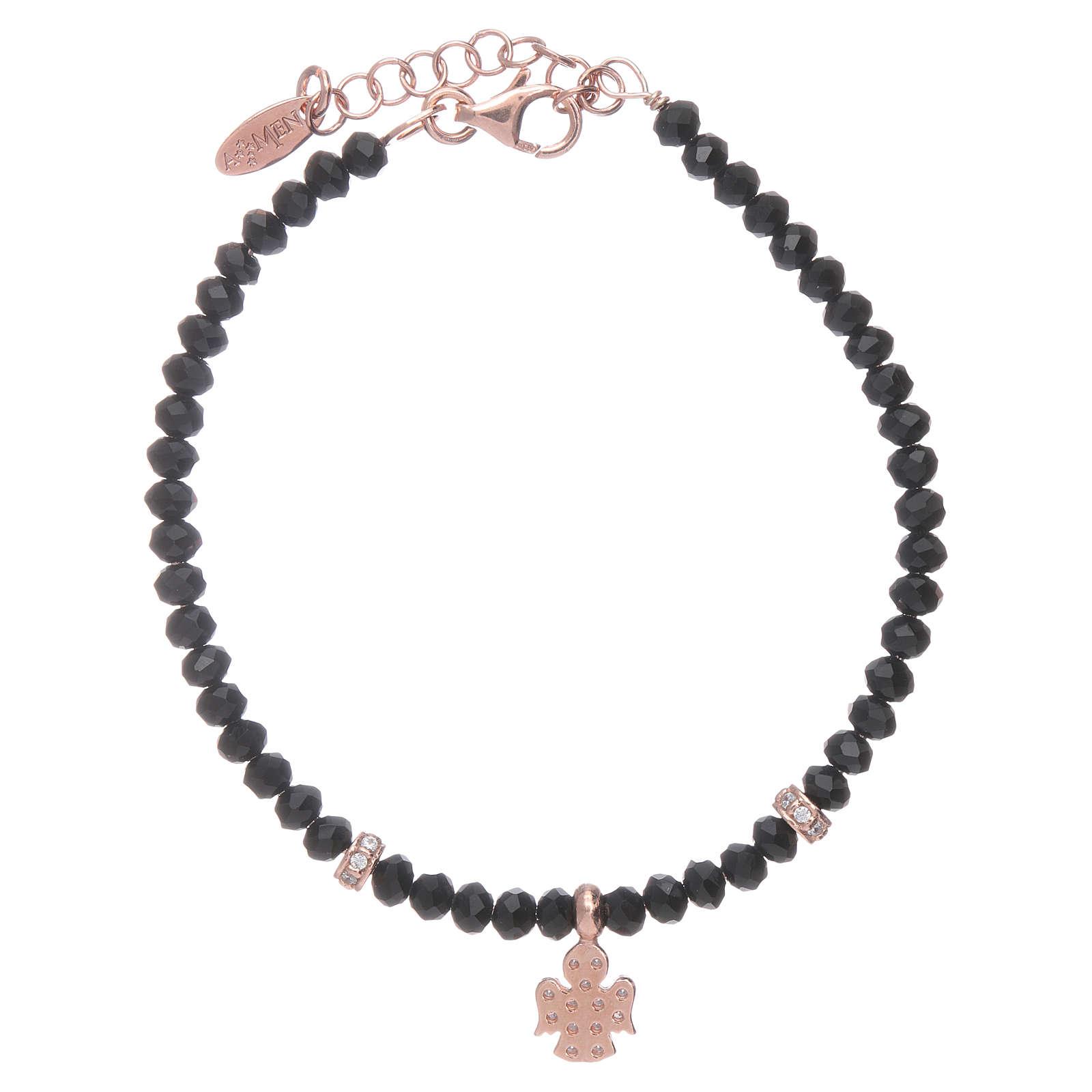 Bracciale Amen argento 925 rosé cristalli neri e angioletto di zirconi 4