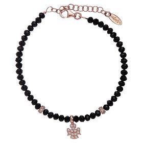 Bracciale Amen argento 925 rosé cristalli neri e angioletto di zirconi s1
