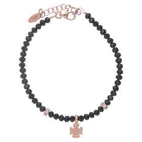 Bracciale Amen argento 925 rosé cristalli neri e angioletto di zirconi s2