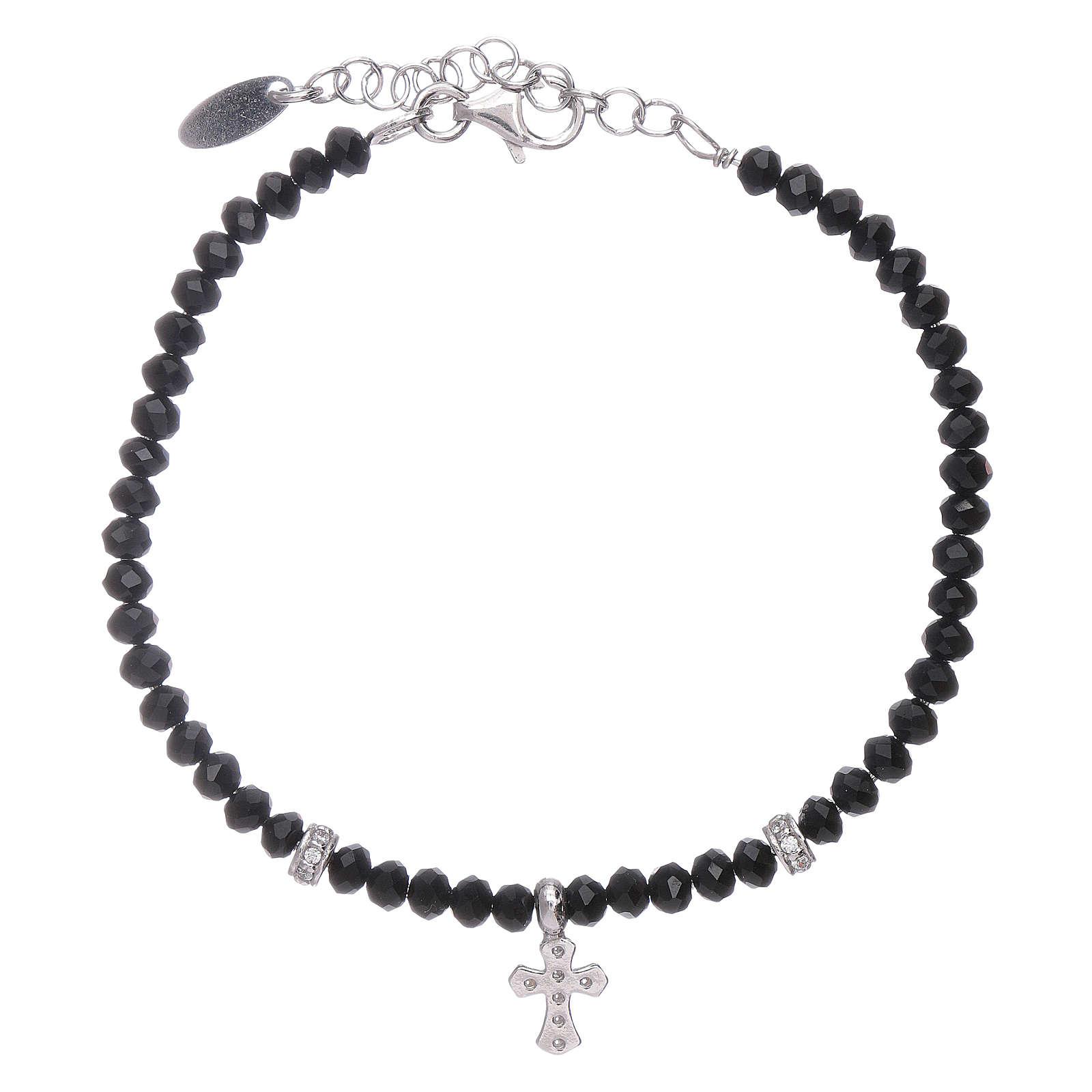 Bracciale Amen croce zirconata argento 925 rodiato e cristalli 4