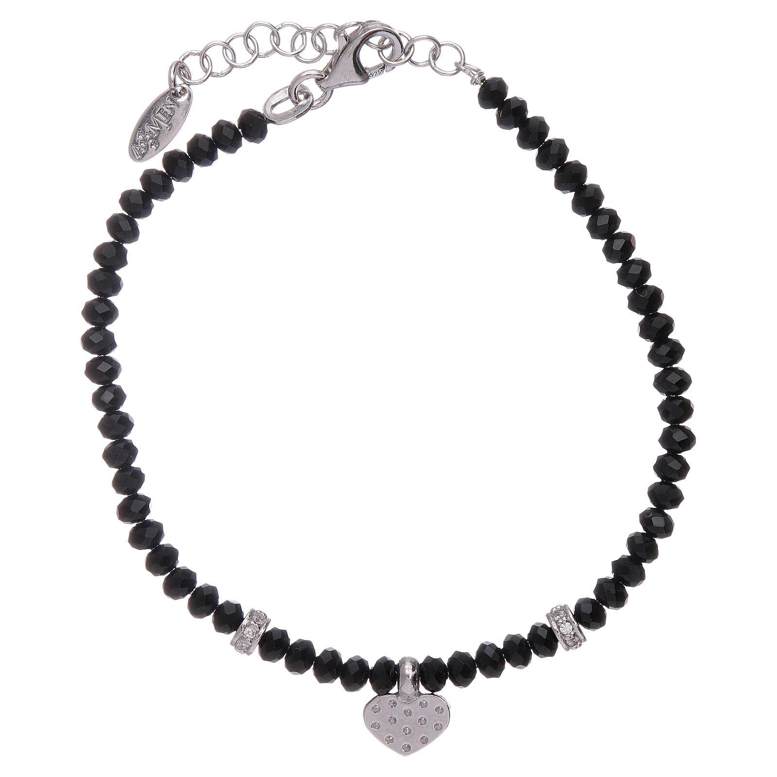 Bracciale Amen cuore zirconato argento 925 rodiato e cristalli 4
