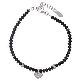 Bracciale Amen cuore zirconato argento 925 rodiato e cristalli s1