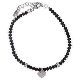 Bracciale Amen cuore zirconato argento 925 rodiato e cristalli s2