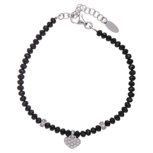 Bracciale Amen cuore zirconato argento 925 rodiato e cristalli 1