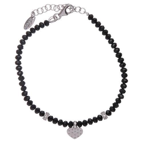 Bracciale Amen cuore zirconato argento 925 rodiato e cristalli 2