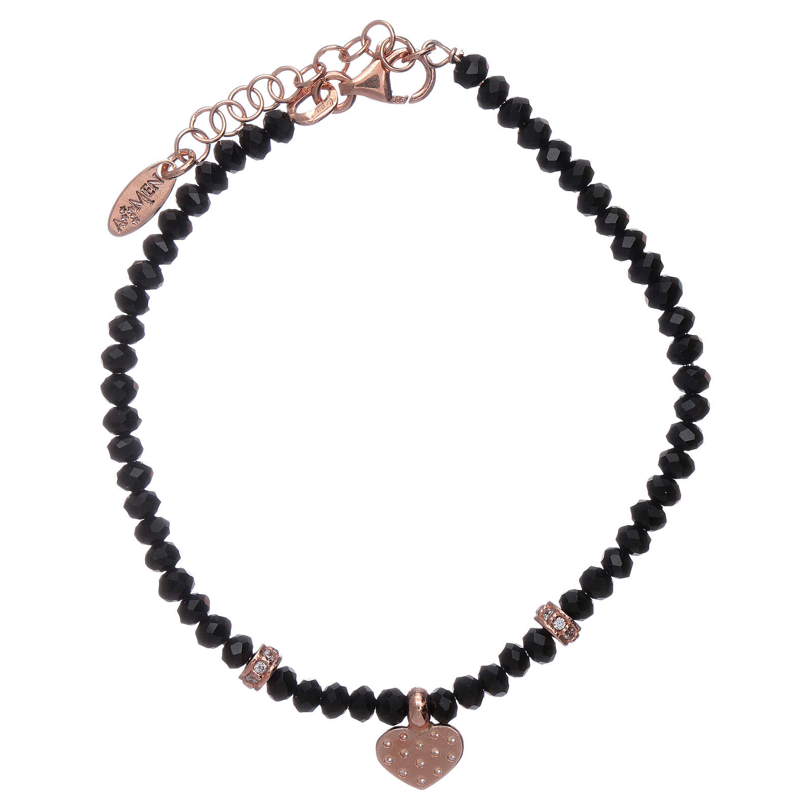 Bracciale Amen cristalli neri cuore argento 925 rosé e zirconi 4