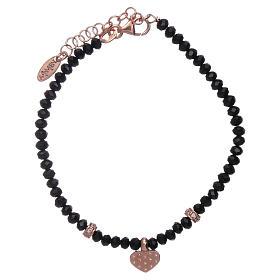 Bracciale Amen cristalli neri cuore argento 925 rosé e zirconi s2