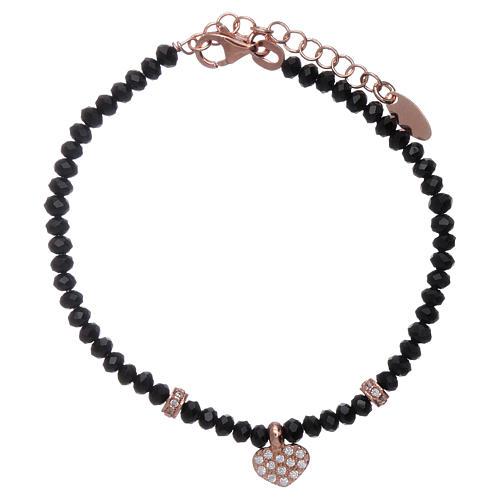 Bracciale Amen cristalli neri cuore argento 925 rosé e zirconi 1
