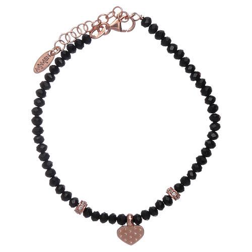 Bracciale Amen cristalli neri cuore argento 925 rosé e zirconi 2