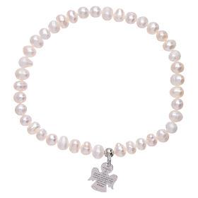 Bracciale perle fiume AMEN argento 925 angioletto s1