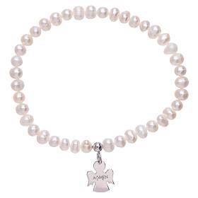 Bracciale perle fiume AMEN argento 925 angioletto s2
