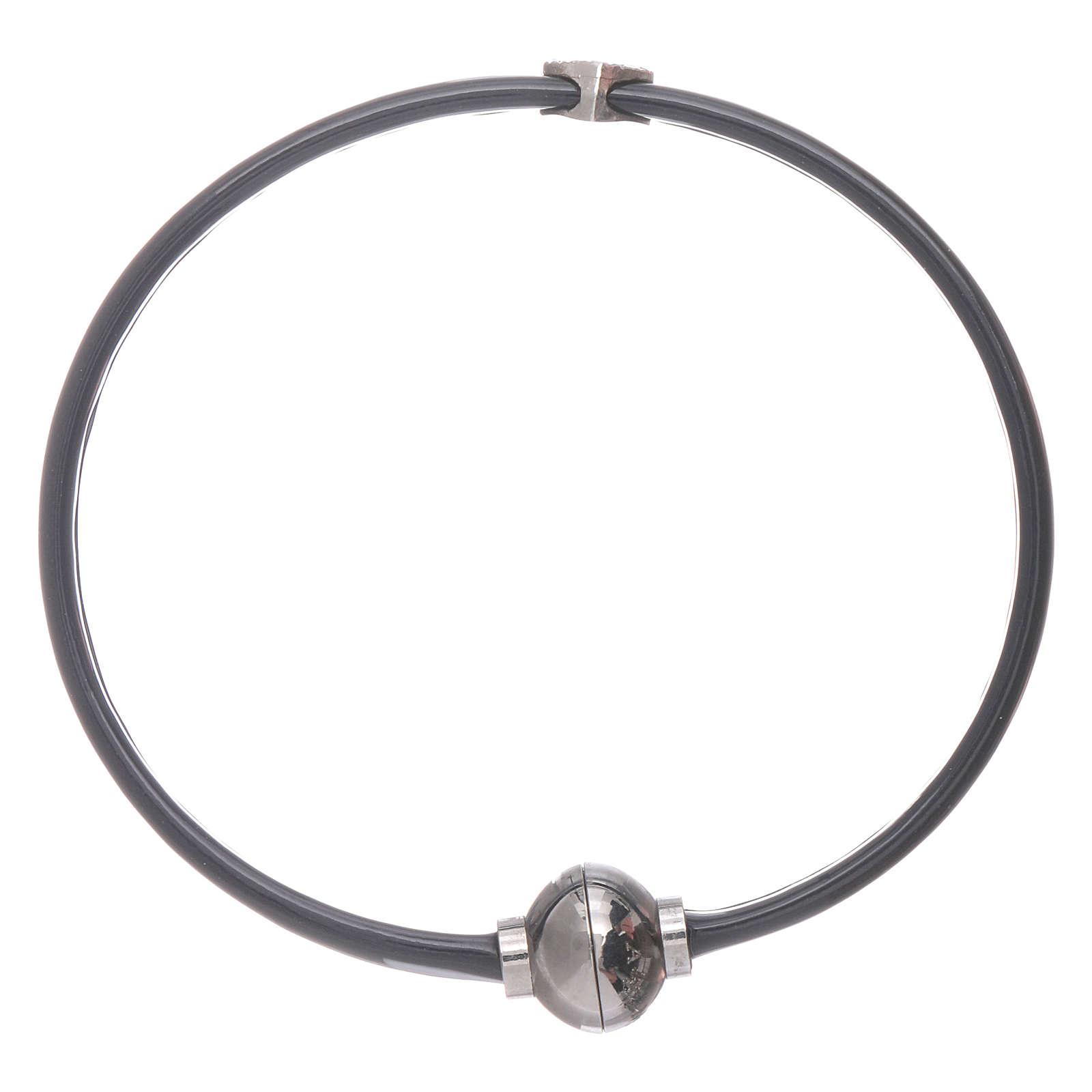 Bracciale AMEN cuoricino zirconato argento 925 in termoplastica nero 4