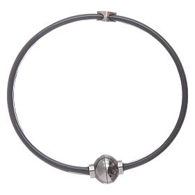 Bracciale AMEN cuoricino zirconato argento 925 in termoplastica nero s2