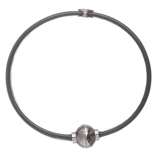Bracciale AMEN cuoricino zirconato argento 925 in termoplastica nero 2