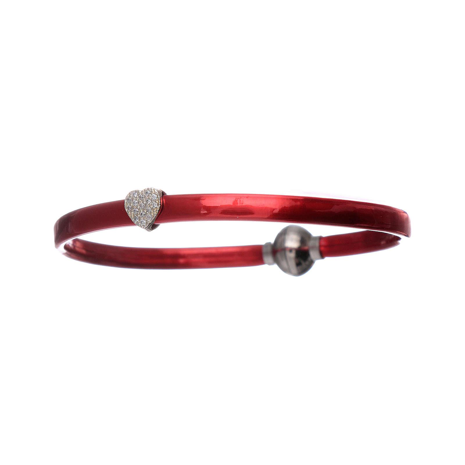 Pulsera AMEN de termoplástico rojo corazoncito zirconado plata 925 4