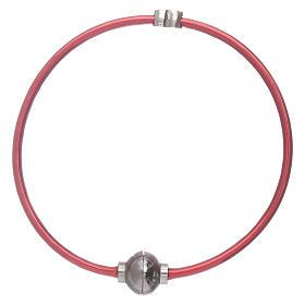 Pulsera AMEN de termoplástico rojo corazoncito zirconado plata 925 s1