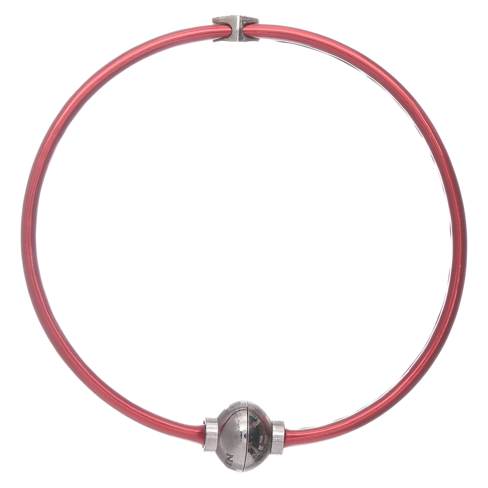 Bracciale AMEN in termoplastica rosso cuoricino zirconato argento 925 4