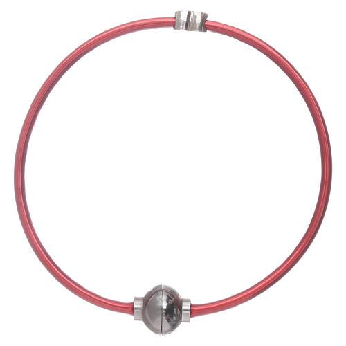 Bracciale AMEN in termoplastica rosso cuoricino zirconato argento 925 1