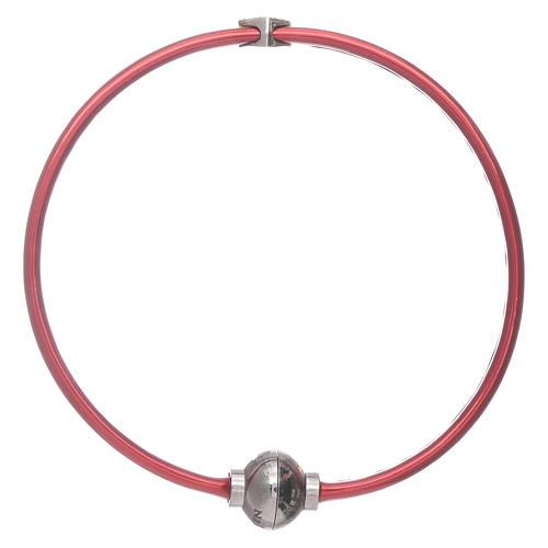 Bracciale AMEN in termoplastica rosso cuoricino zirconato argento 925 2